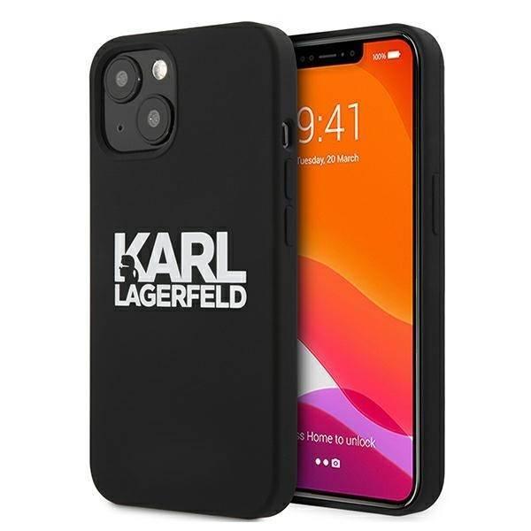 """Karl Lagerfeld KLHCP13MSLKLRBK iPhone 13 6,1"""" Silikon Stack Logo schwarz/schwarz"""