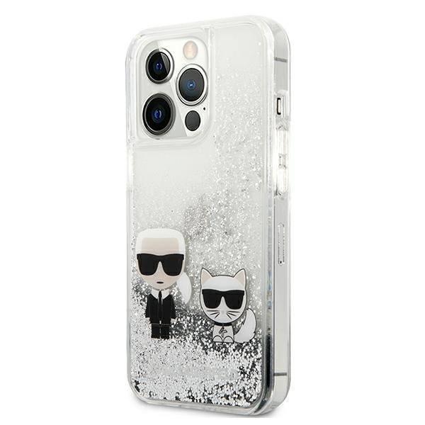 """Karl Lagerfeld KLHCP13XGKCS 13 Pro Max 6,7"""" silber/silbernes Hartschalengehäuse Liquid Glitter Karl&Choupette"""