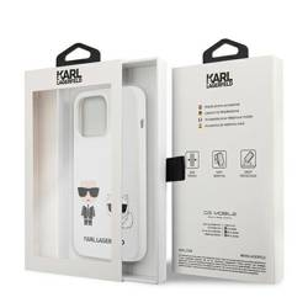 """Karl Lagerfeld KLHCP13XSSKCW iPhone 13 Pro Max 6,7"""" Hartschale weiß/weiß Silikon Karl & Choupette"""