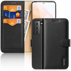 [PO ZWROCIE] Dux Ducis Hivo skórzane etui z klapką pokrowiec ze skóry naturalnej portfel na karty i dokumenty Samsung Galaxy S21 5G czarny