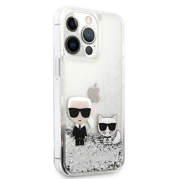 Etui KARL LAGERFELD Apple iPhone 13 13 Pro Liquid Glitter Karl&Choupette Srebrny Hardcase