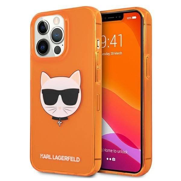 Etui KARL LAGERFELD Apple iPhone 13 Pro Glitter Choupette Fluo Pomarańczowy Hardcase