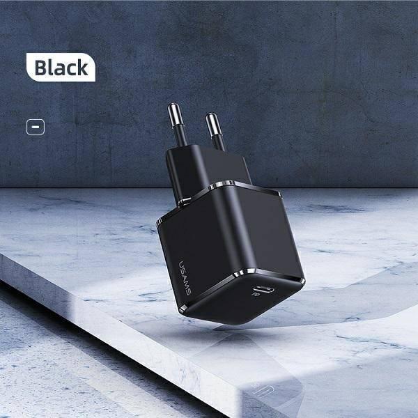 USAMS Ład. siec. 1xUSB-C T42 mini 25W (only head) 5V-3A PD3.0 Fast Charging czarny/black CC140TC01 (US-CC140)